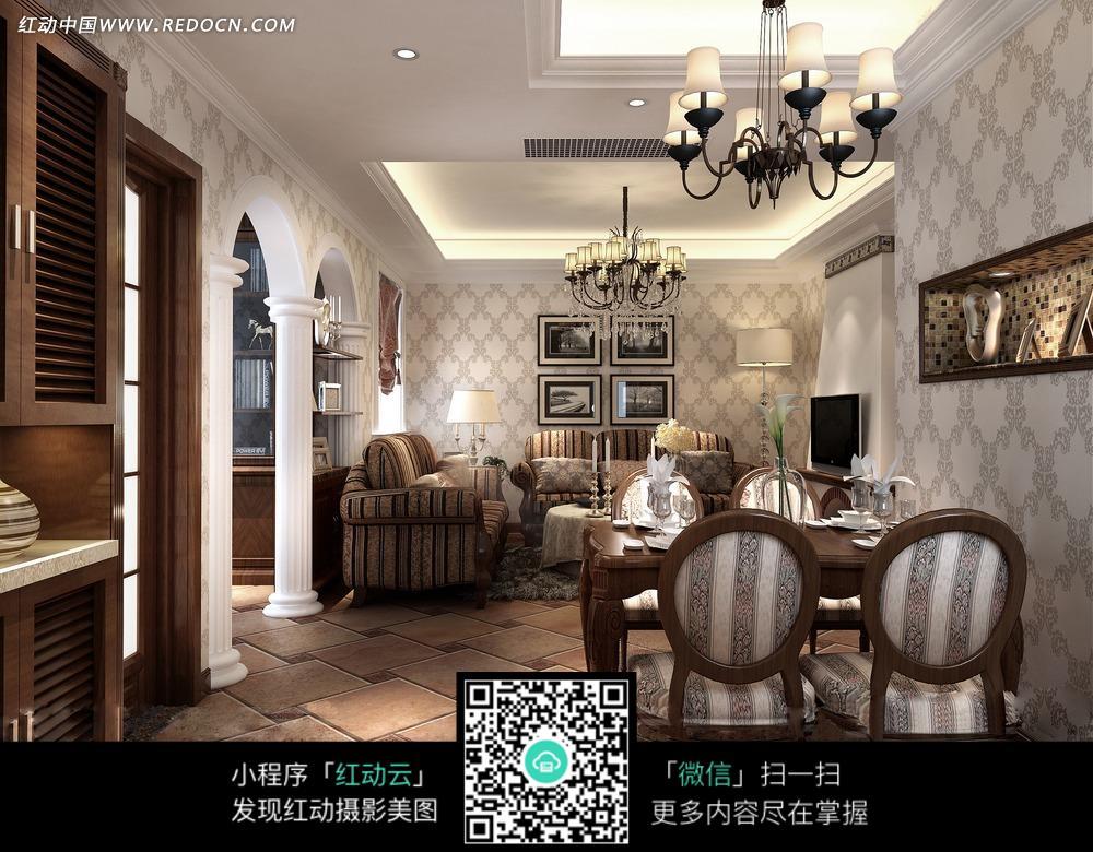 欧式客厅餐厅_室内设计图片