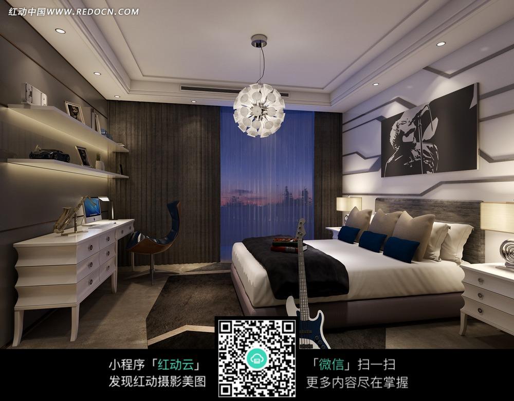 现代都市卧室效果图