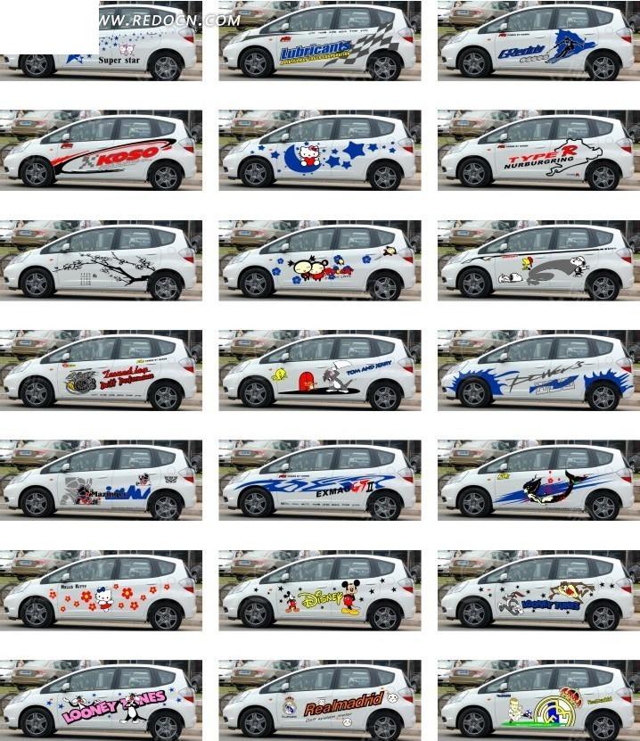 白色汽车车贴设计图片