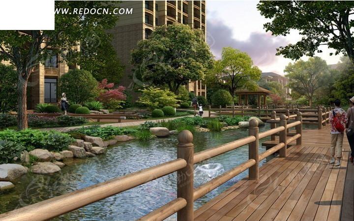 河边的建筑和木板桥效果图psd素材