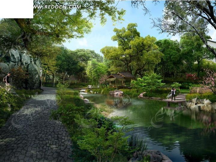 免费素材 psd素材 psd建筑空间 园林景观 > 河边的绿树和石子路效果图