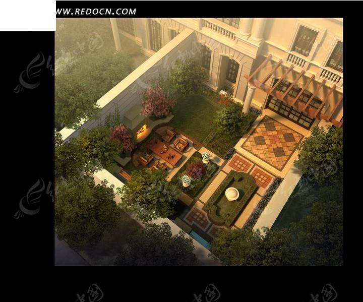 现代建筑里的美丽庭院鸟瞰效果图psd素材高清图片