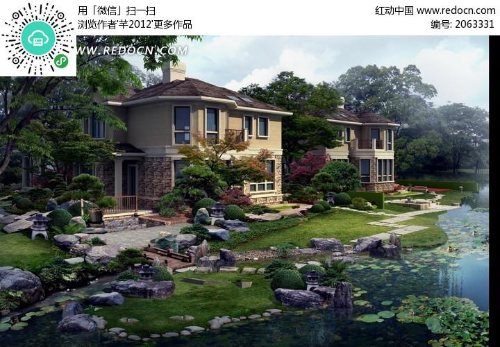 别墅园林景观设计psd分层素材