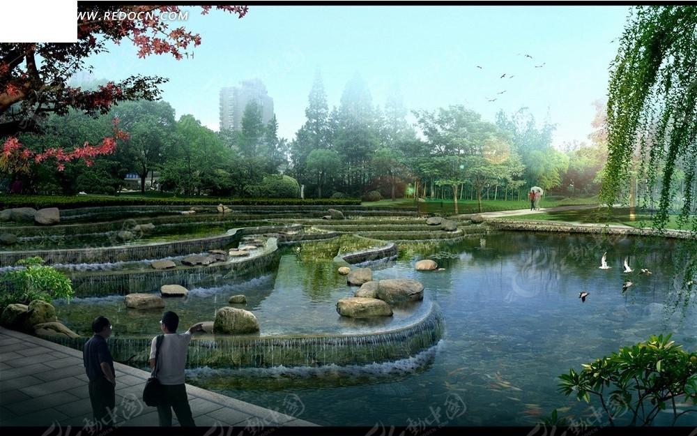 人工河 绿树 行人        园林建筑 psd素材 园林设计 psd素材 psd图片