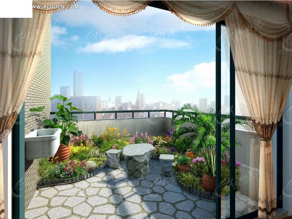 蓝天白云下阳台上的石凳鲜花和绿色植物psd效果图