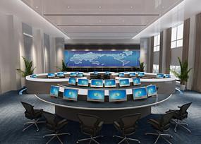 科技感圆桌会议室3D效果图