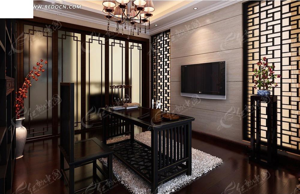 免费素材 3d素材 3d模型 室内设计 中国风书房装修效...