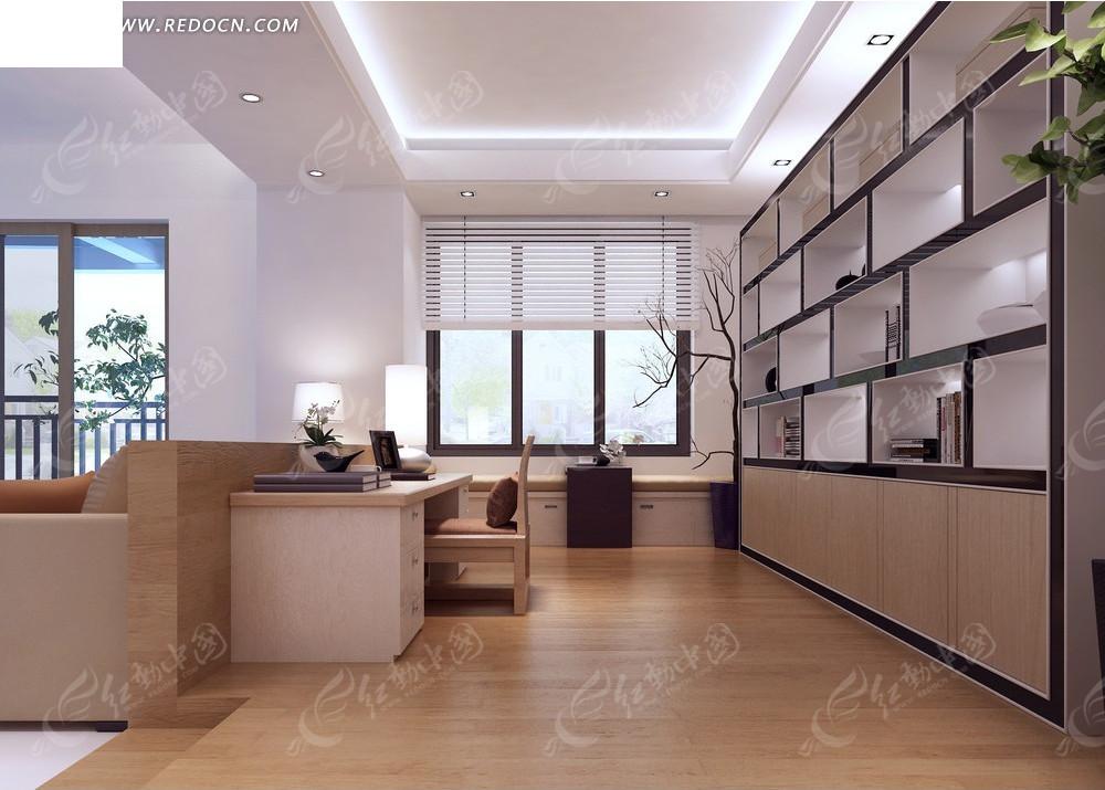 免费素材 3d素材 3d模型 室内设计 简约书房室内装修效果图  请您分享图片