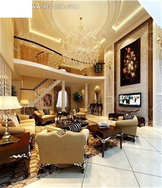 免费素材 3d素材 3d模型 室内设计 跃层式豪华水晶吊灯别蟹客厅效果图图片