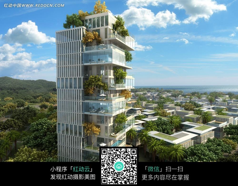 园林蓝天上层叠式空中花园豪华小高层住宅图片 高清图片