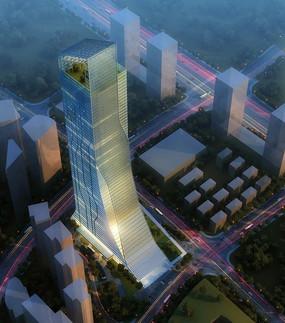 高端豪华的城市地标大厦外景鸟瞰效果图