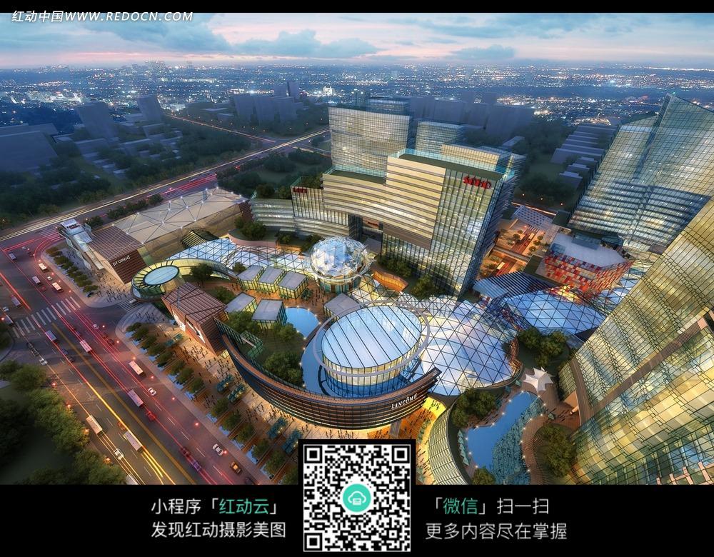 城市夜景 俯视图 大楼 马路 楼房  建筑图片 建筑摄影 摄影图片