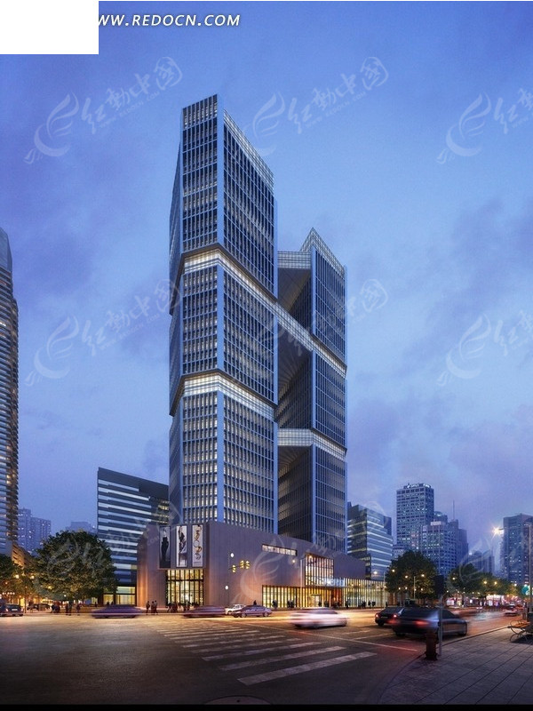 单体建筑效果图日景与夜 十层塔式住宅楼建筑效果 两栋高层板式住宅楼图片