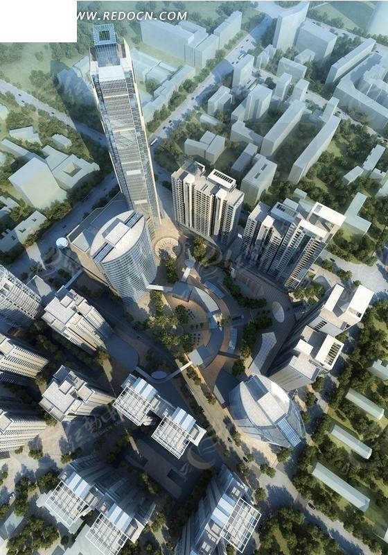 高层建筑俯视效果图 园林景观 红动手机版