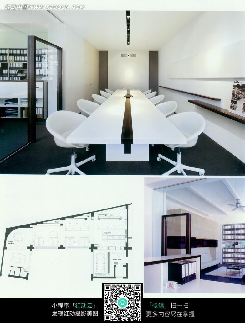 会议室内的白色桌椅图片_室内设计图片