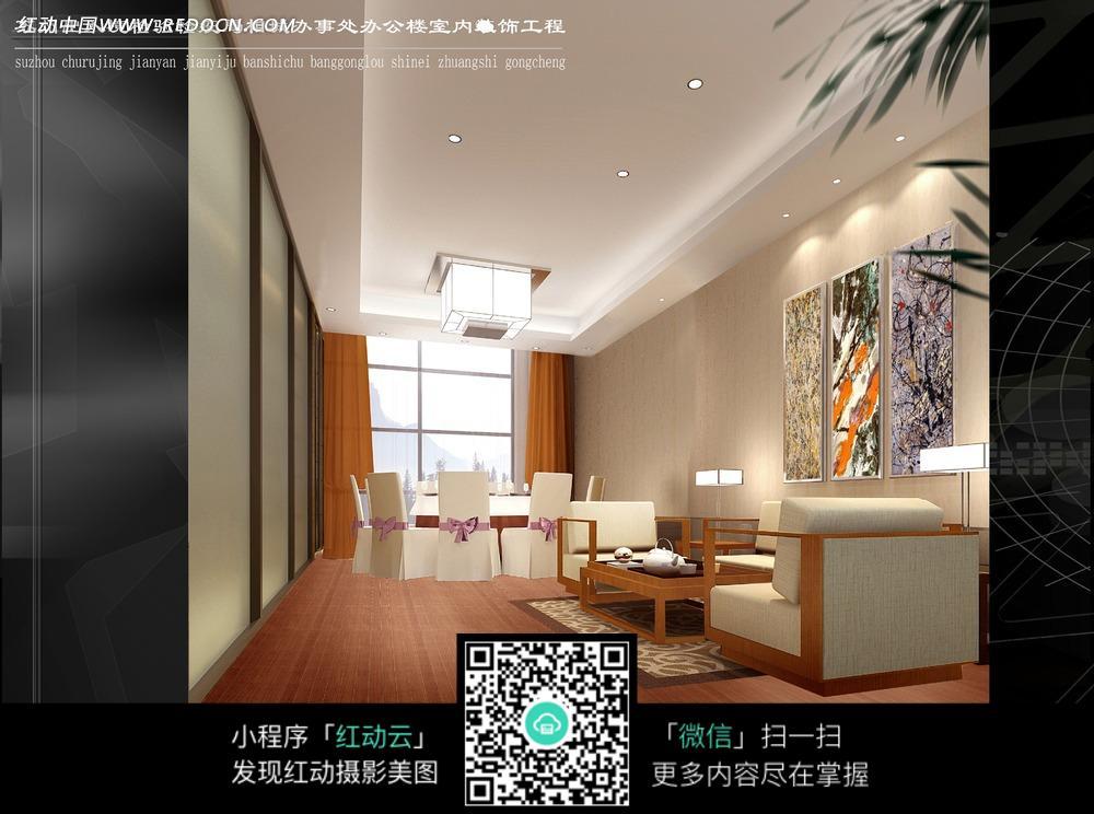 木地板装饰大厅内的沙发椅子和吊灯图片