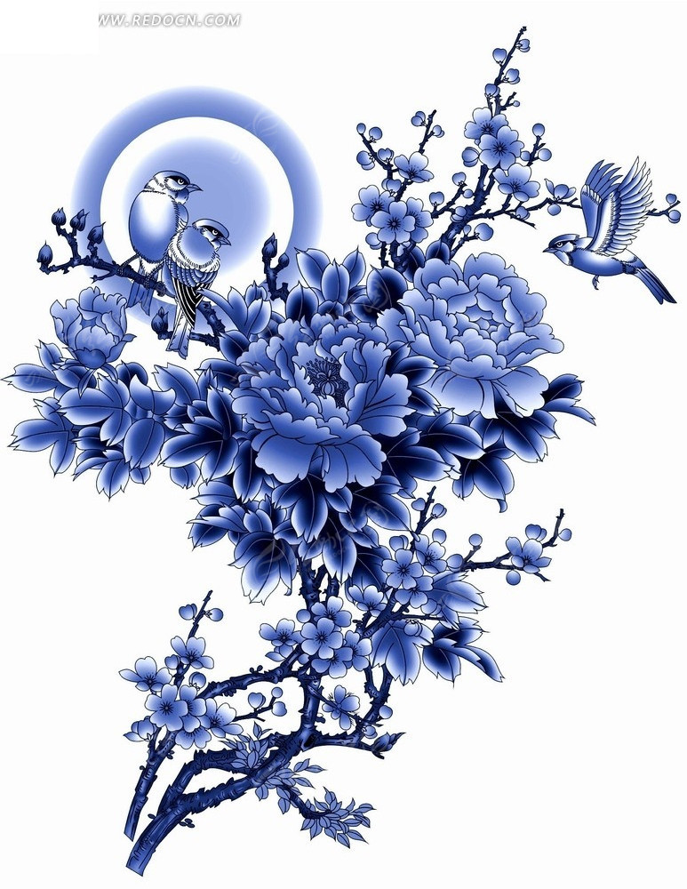 花卉工笔画—圆环前的牡丹花和飞鸟psd素材