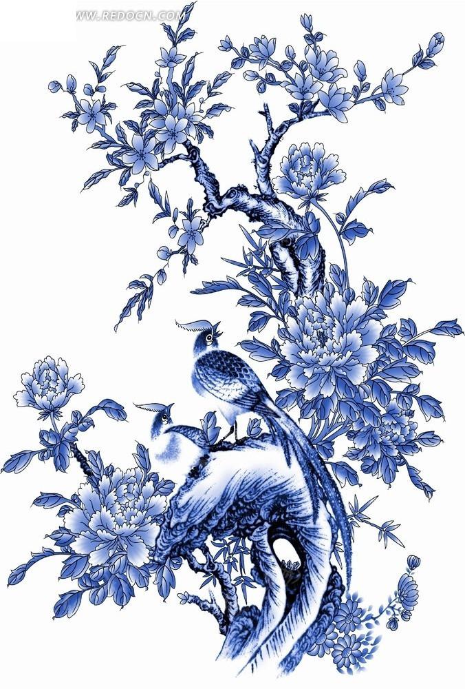 花卉工笔画—假山上的鸟和盛开的牡丹花psd素材_花纹