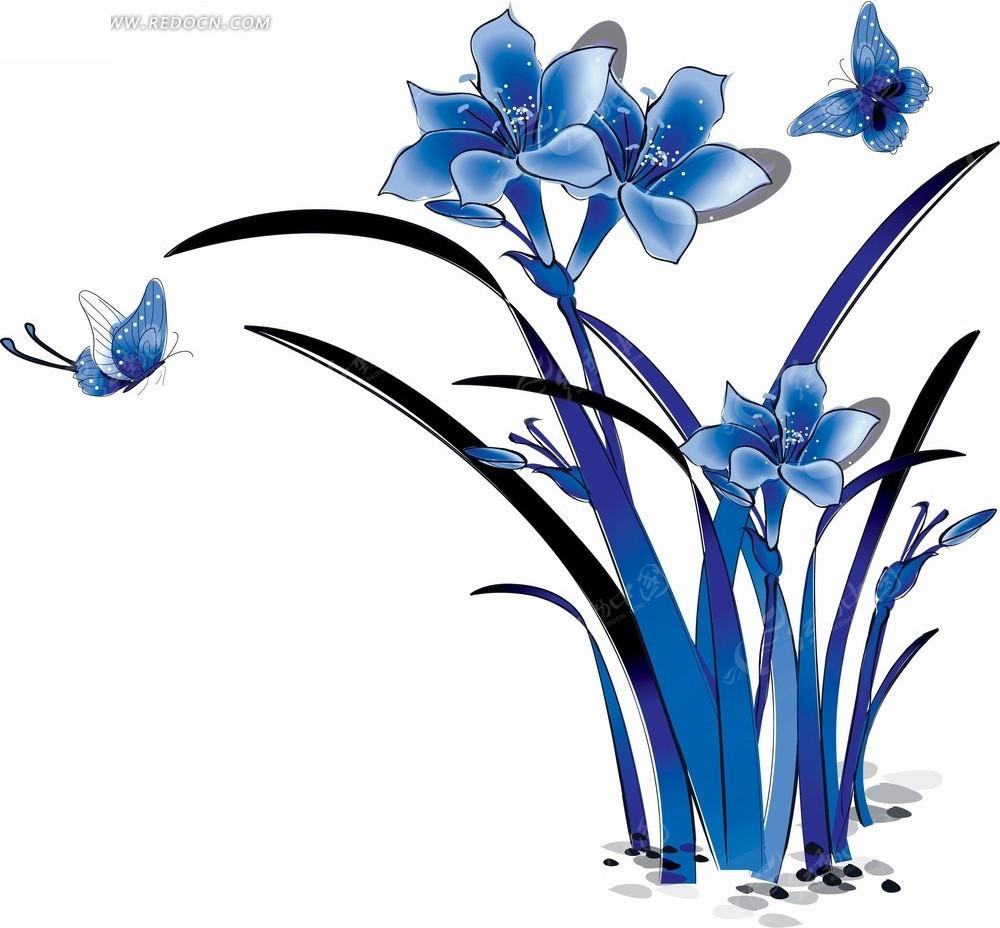 手绘花卉----蓝色的水仙花和蝴蝶