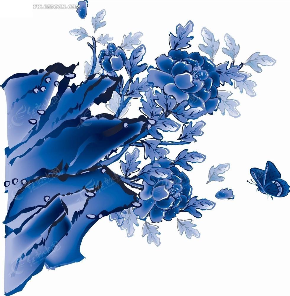 免费素材 psd素材 psd花纹边框 花纹花边 蓝色工笔画—假山上的牡丹花