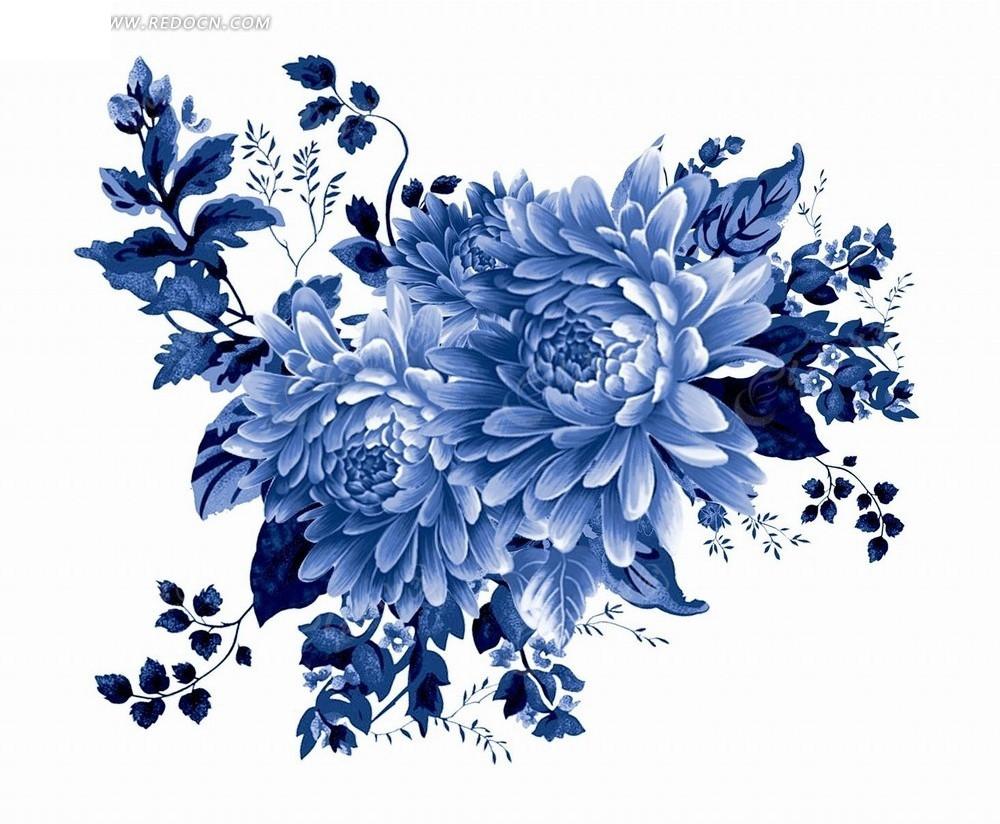 花卉工笔画—墨蓝色叶子和高贵牡丹花psd素材_花纹花边