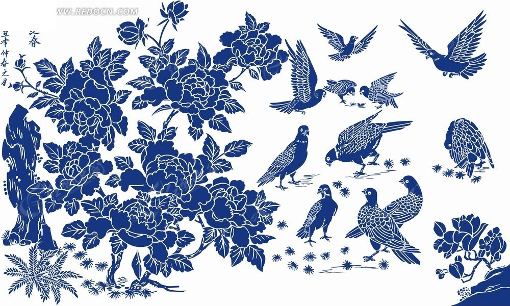 花卉工笔画—蓝色鸟和牡丹花以及蓝色假山psd素材