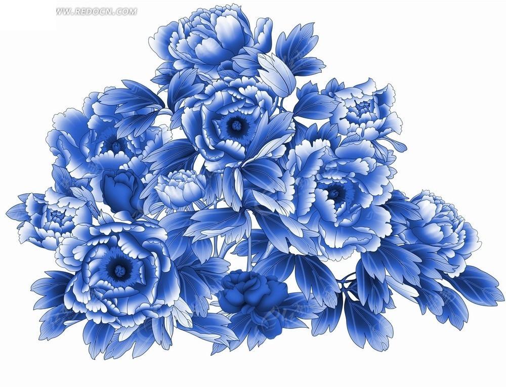花卉工笔画—叶子和绽放的美丽牡丹花psd素材_花纹花边