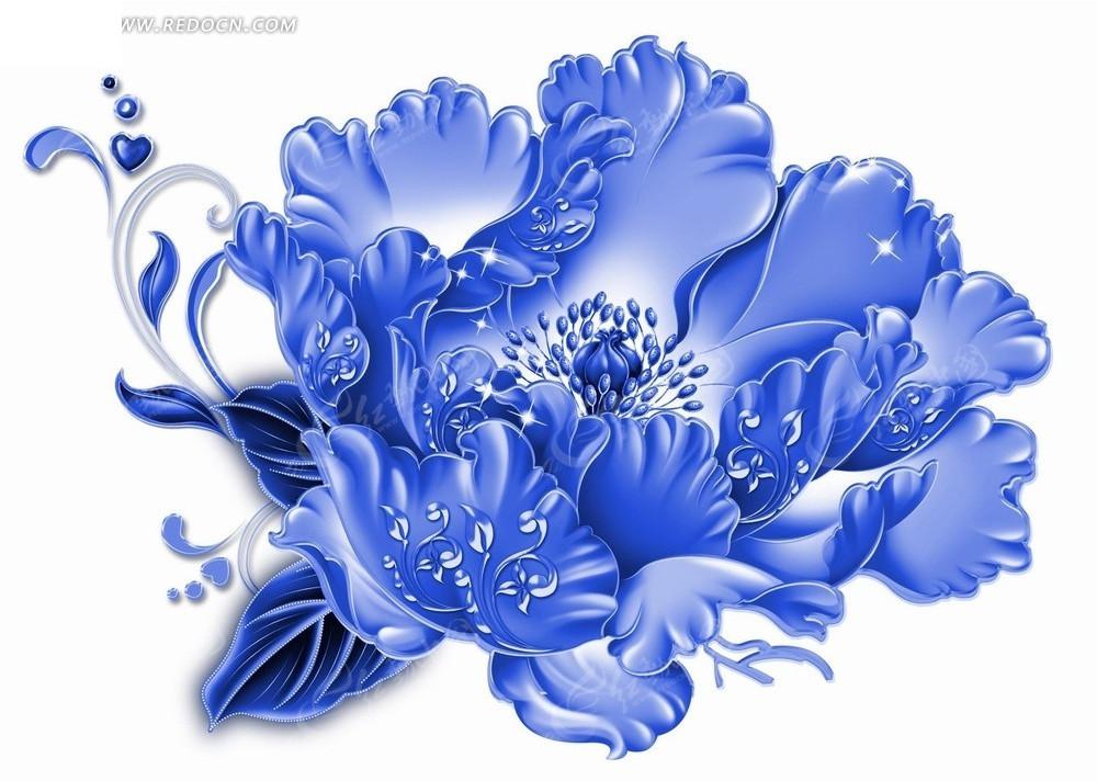 花卉工笔画 漂亮的蓝色牡丹花和心形psd素材免费下载 红动网