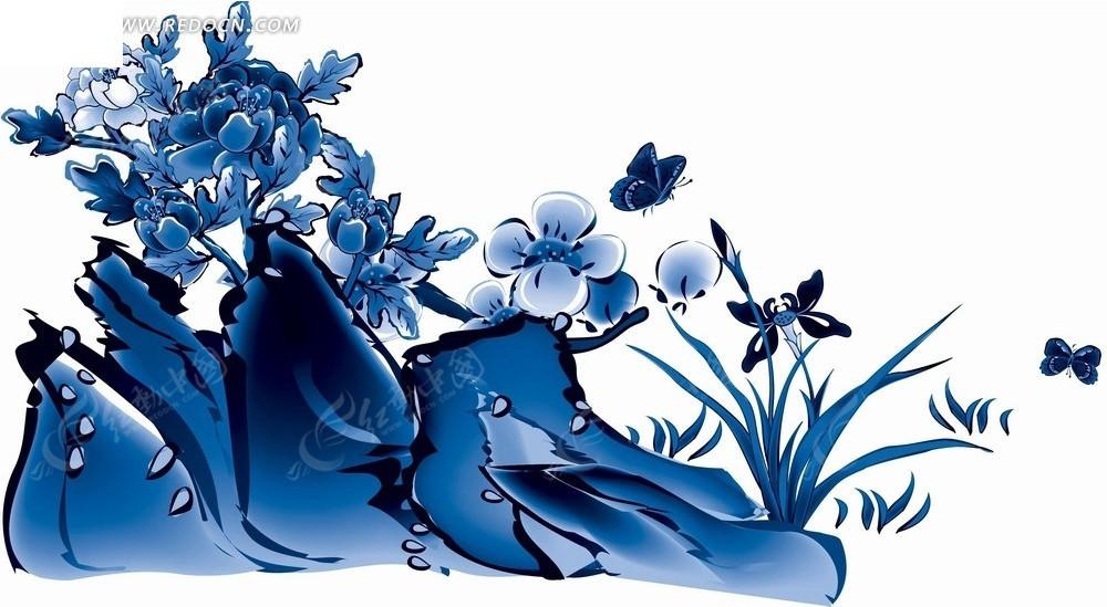 花卉工笔画—蓝色假山后的梅花牡丹和兰花psd素材