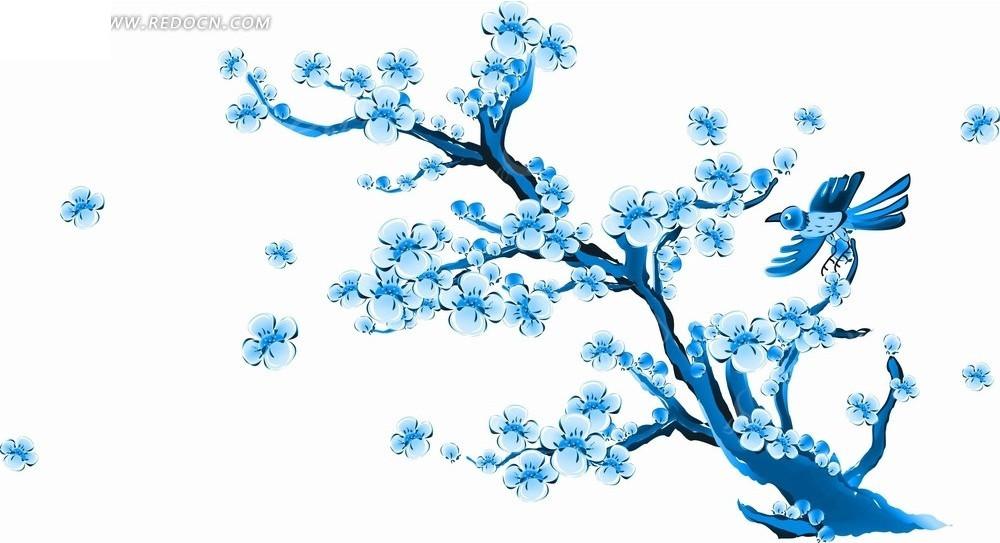 花卉工笔画—蓝色牡丹花和叶子以及竹叶psd素材_花纹