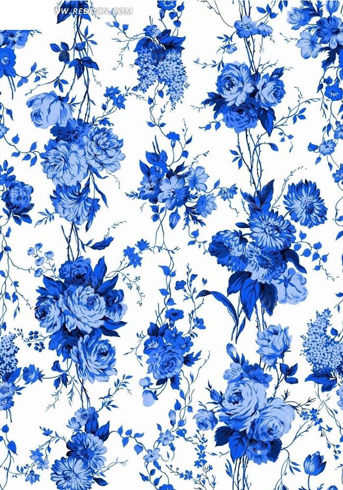 蓝色枝条和牡丹花背景素材psd素材