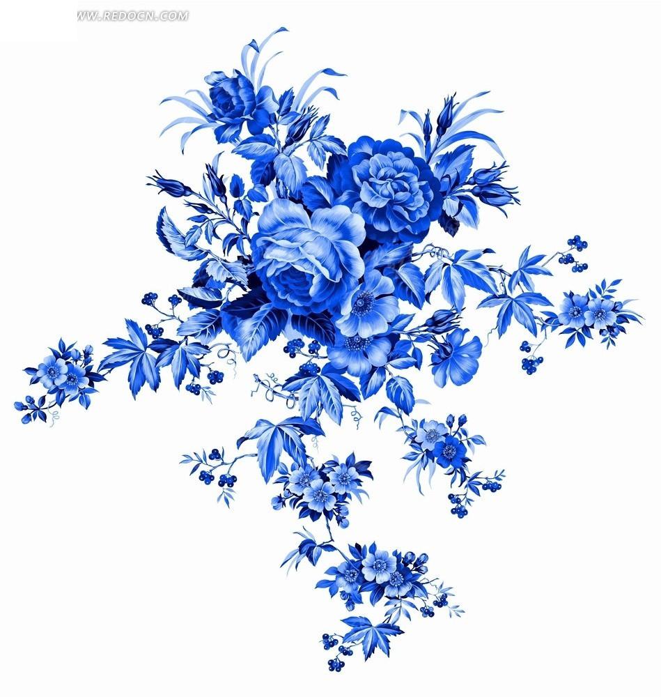 绘画 艺术 花卉工笔画 蓝色花枝 花朵 牡丹花 psd素材 花纹 花纹素材