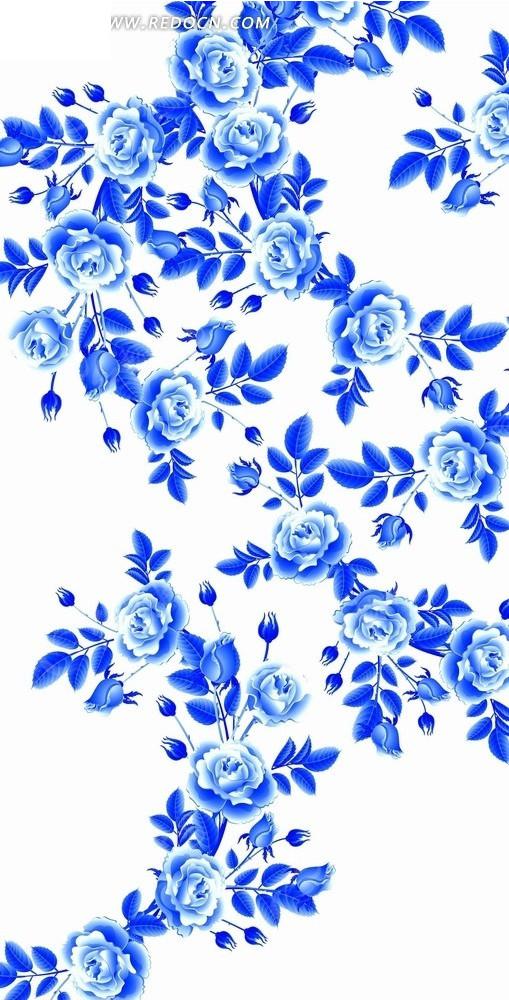 花卉工笔画—蓝色花枝和漂亮的牡丹花psd素材_花纹花边