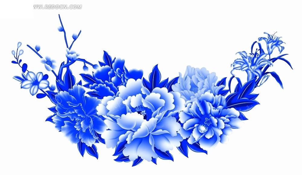 蓝色叶子和蓝色牡丹花插画psd素材