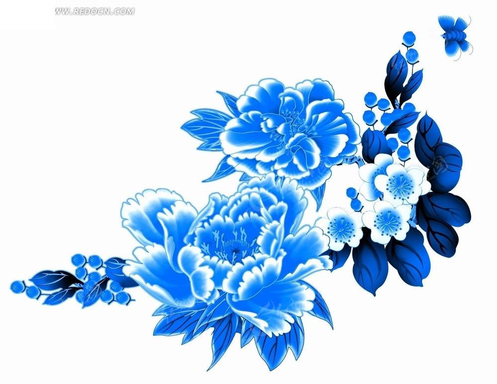 分享: 中式古典青花瓷花纹图案cad图库青花瓷花纹叶子花朵矢量花纹图片