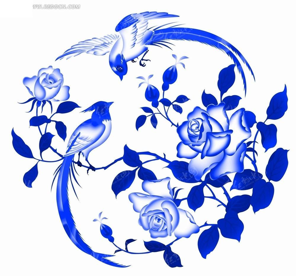 蓝色工笔画—蓝色牡丹花和蓝色小鸟psd素材图片