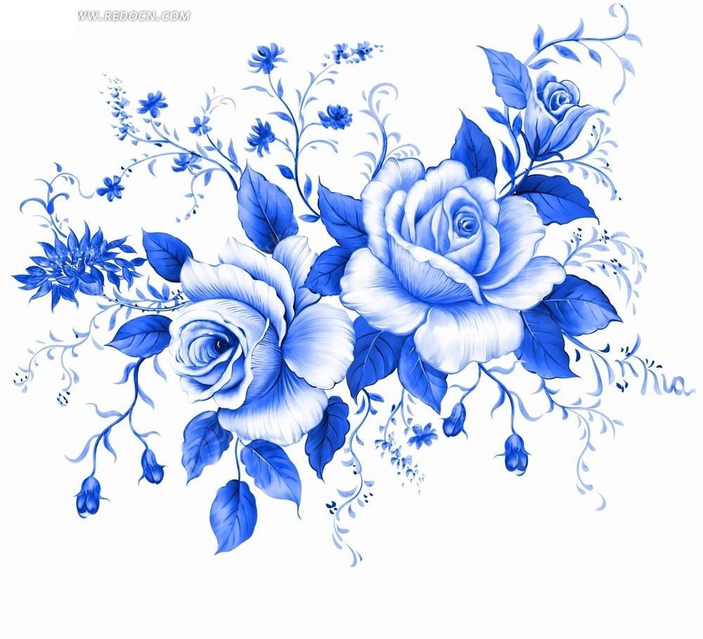 手绘蓝色花朵花卉设计稿件插画