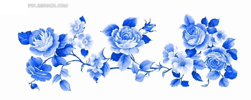 蓝色工笔画—蓝色牡丹花枝psd素材_花纹花边
