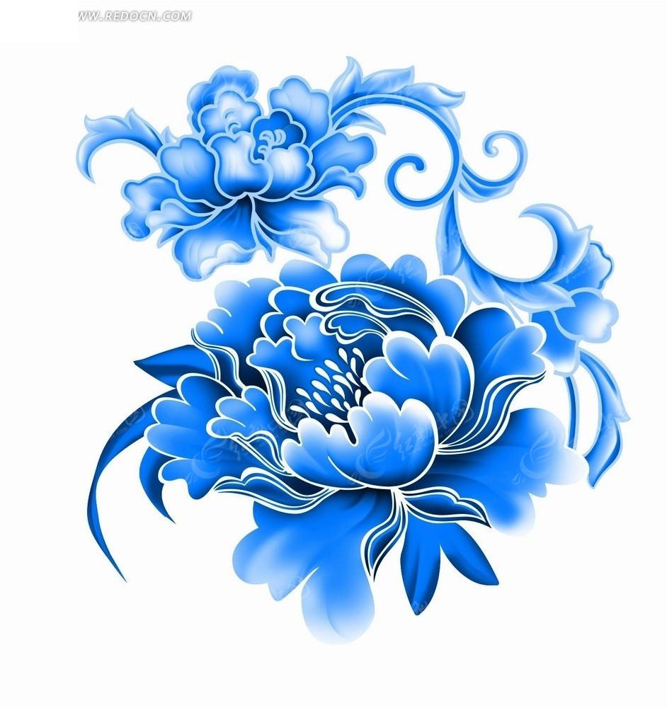 蓝色工笔画—蓝色枝条和牡丹花psd素材免费下载_花纹