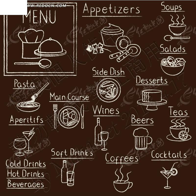 手绘涂鸦餐具小图标