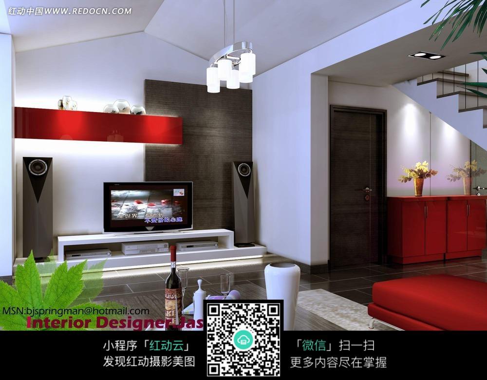 开放客厅的电视机电视柜