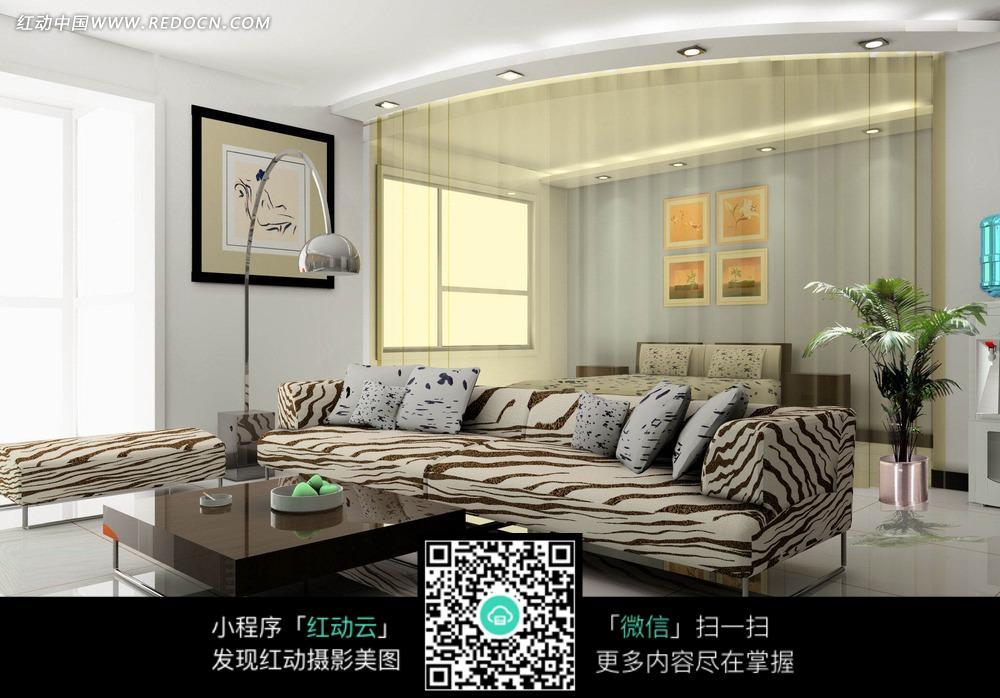 免费素材 图片素材 环境居住 室内设计 客厅里的条纹沙发和茶几  请您