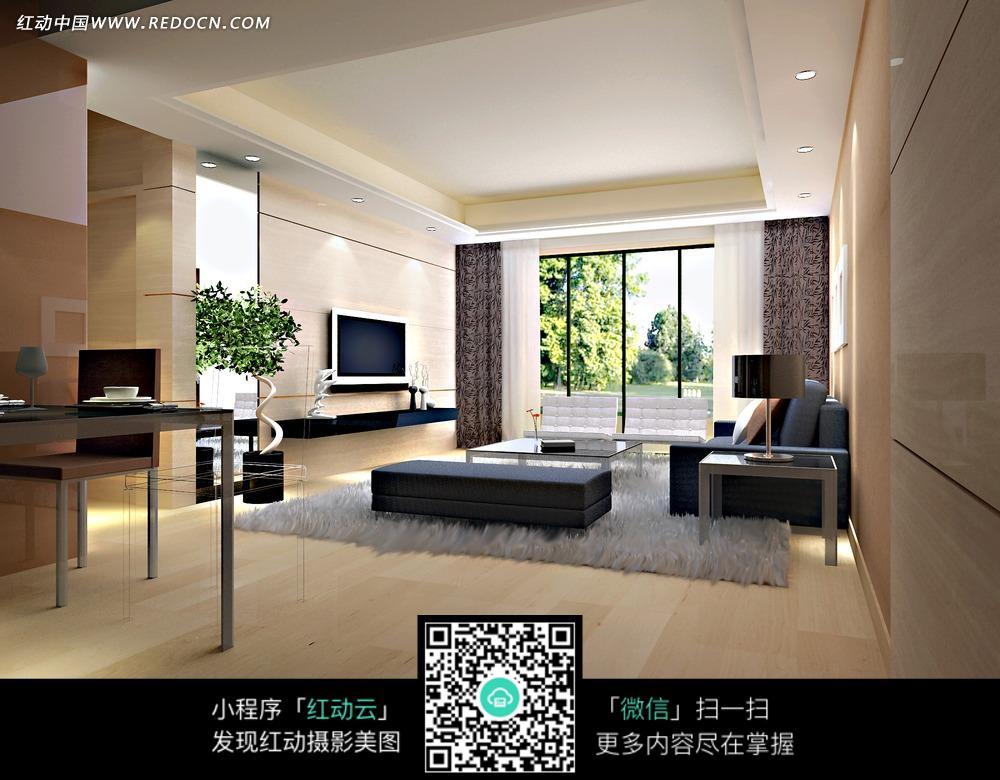 白色地毯简洁大方客厅效果图图片
