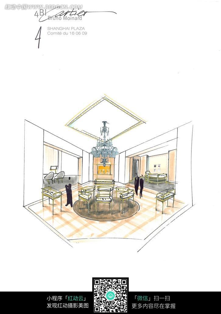 现代豪华餐厅设计手绘图图片