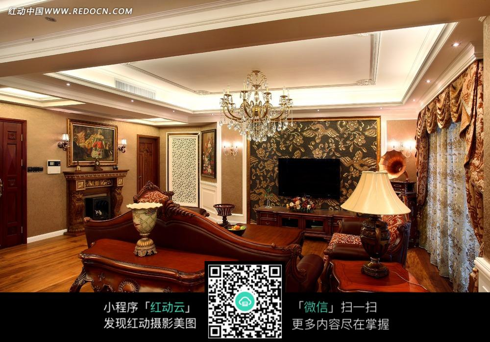 欧式精致客厅雕花沙发茶几图片_室内设计图片