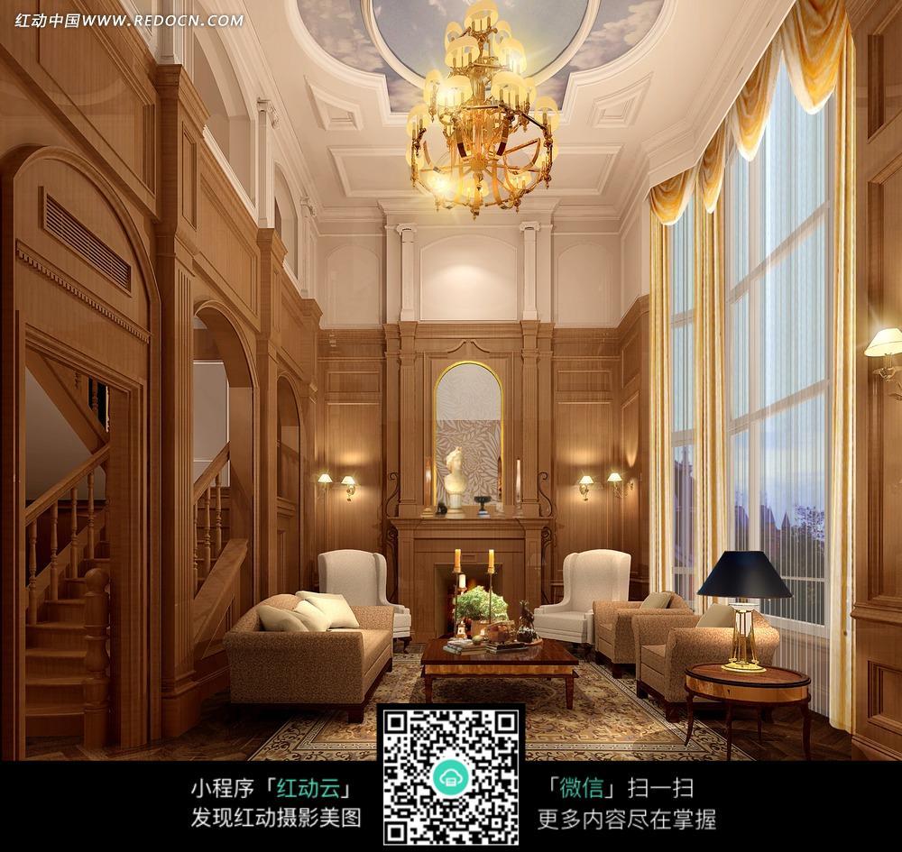 豪华客厅里的沙发茶几和壁炉图片