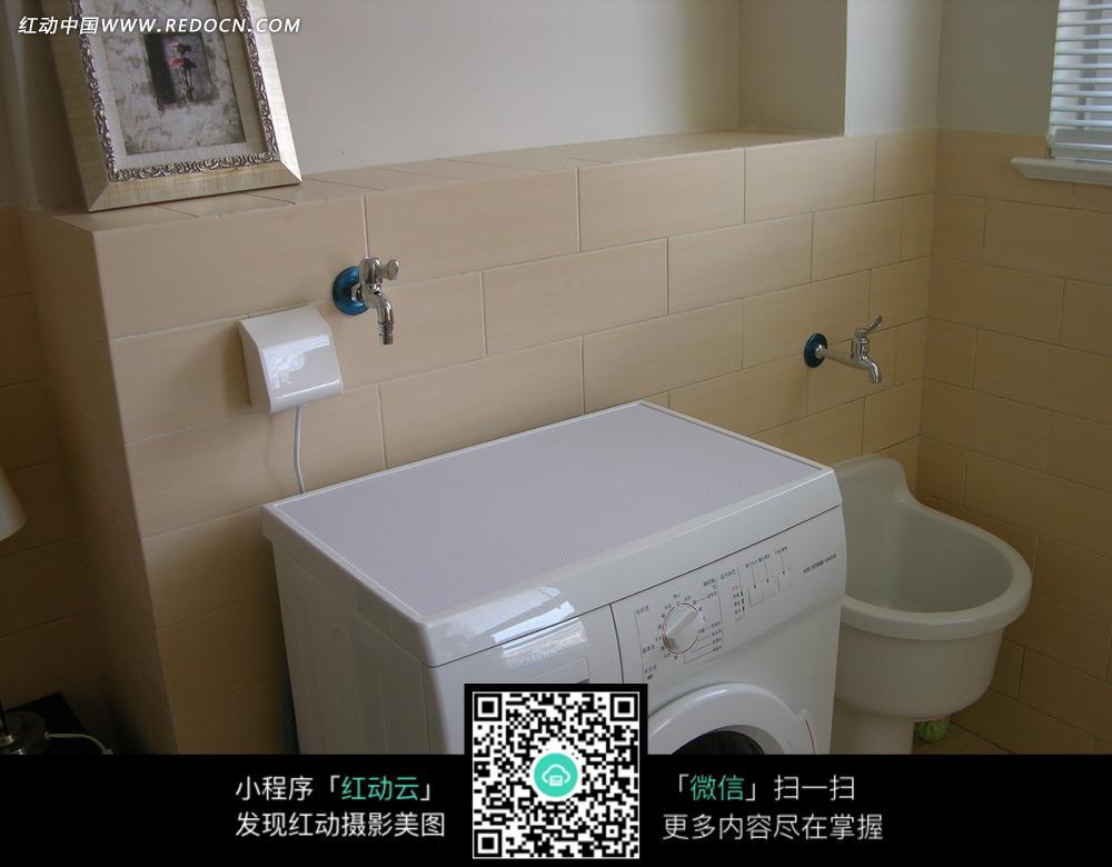 免费素材 图片素材 环境居住 室内设计 卫生间里的水池和洗衣机