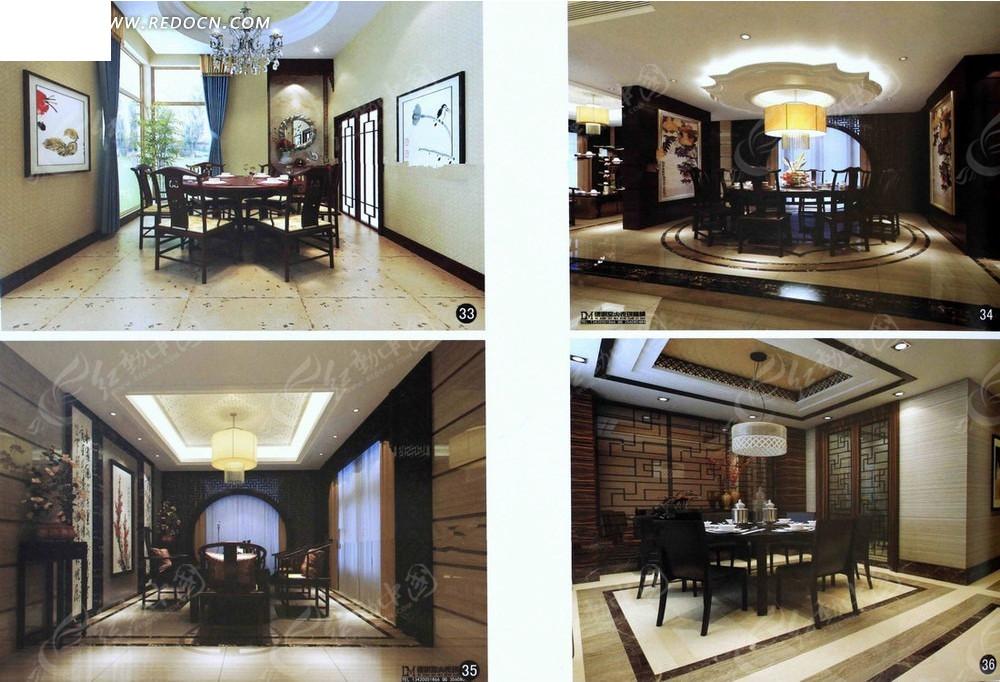 中国风餐厅3d渲染效果图