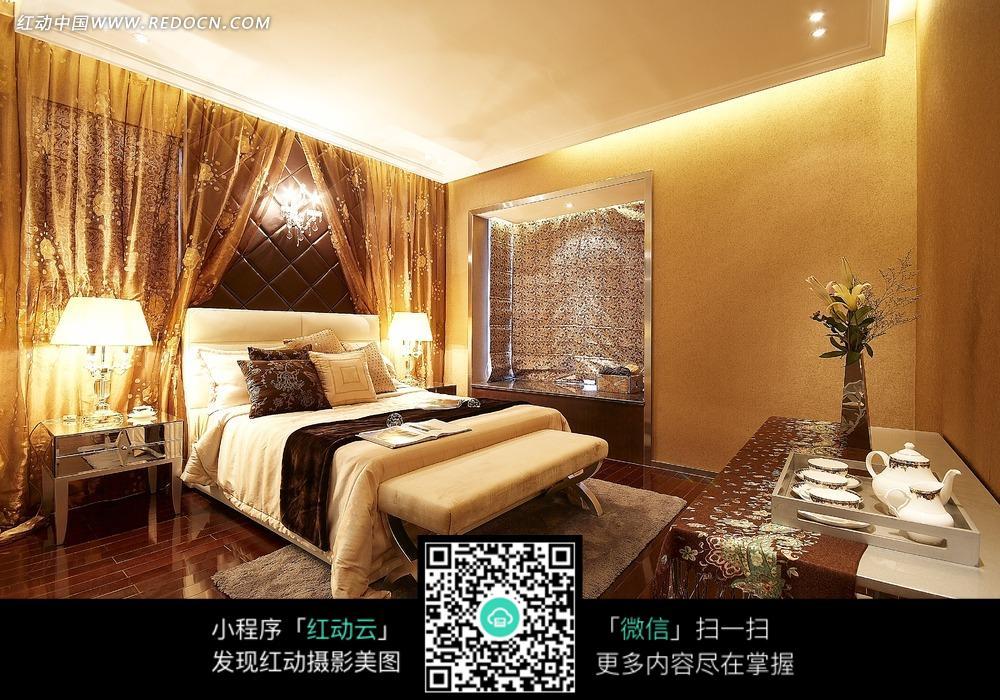 免费素材 图片素材 环境居住 室内设计 欧式华丽卧室效果图  请您分享