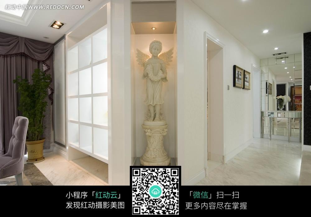 免费素材 图片素材 环境居住 室内设计 房间角落里的白色天使雕塑  请图片
